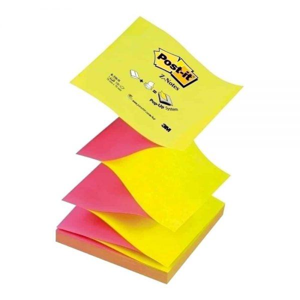 Notite adezive Post-It Z-Notes, roz/galben neon, 76x76mm
