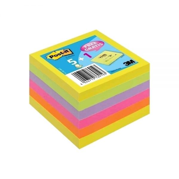 Notite adezive Post-It Z-notes, 76x76mm, 6 culori/set, 5+1 Gratis