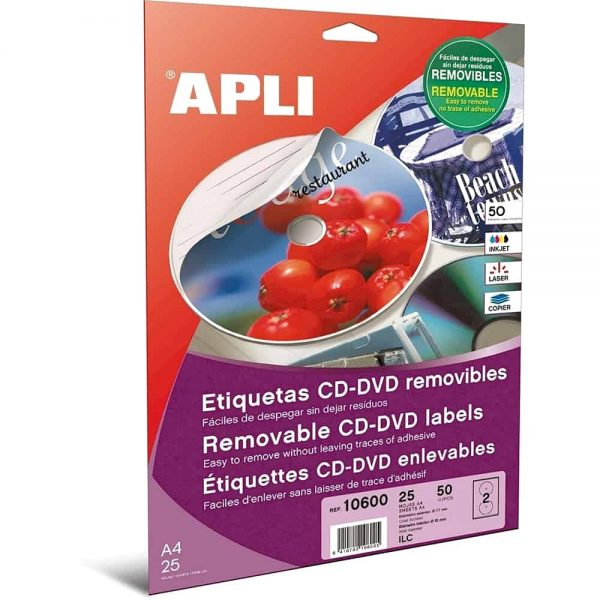 Etichete autoadezive Apli multimedia A4, CD/DVD, diam ext 117 mm, diam int 18mm, 50 buc, 25 coli/set