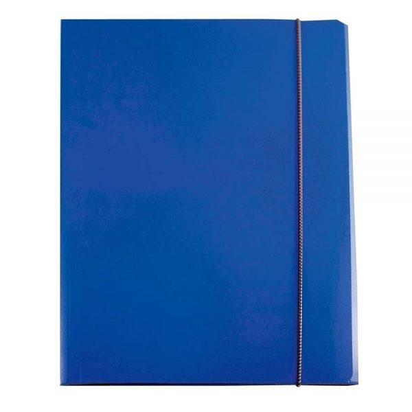 Mapa documente Ecomax, inchidere cu elastic, carton plastifiat, albastru