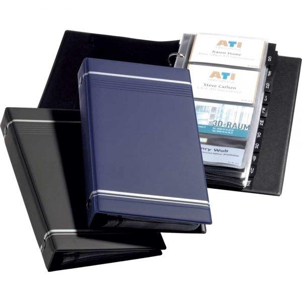 Clasor pentru carti de vizita Durable Visifix 2385, albastru, 4 inele, 25 file, 255x145mm, copertiPVC, index A - Z PP