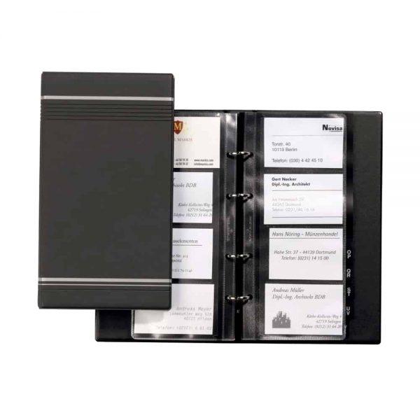 Clasor pentru carti de vizita Durable Visifix 2385, antracit, 4 inele, 25 file, 255x145mm, copertiPVC, index A - Z PP
