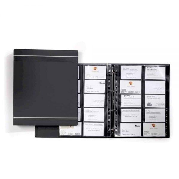 Clasor pentru carti de vizita Durable Visifix 2389, antracit, 4 inele, 20 file, 315x261mm, coperti PPVC, index A - Z PP