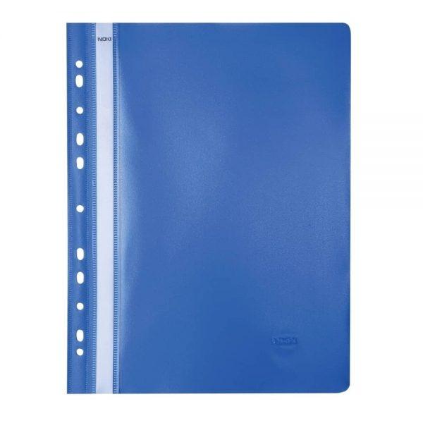 Dosar plastic cu sina si 11 perforatii, A4, orange peel, albastru, 25 bucati/set