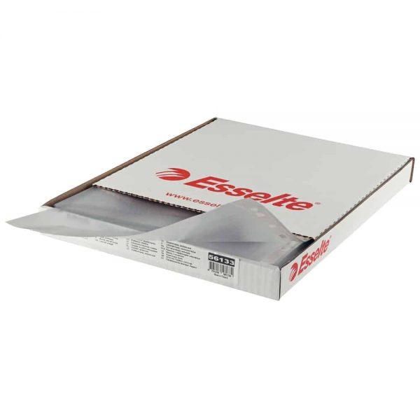File protectie Esselte, transparent, cristal, 105mic, A4, plastic, 100buc/cutie