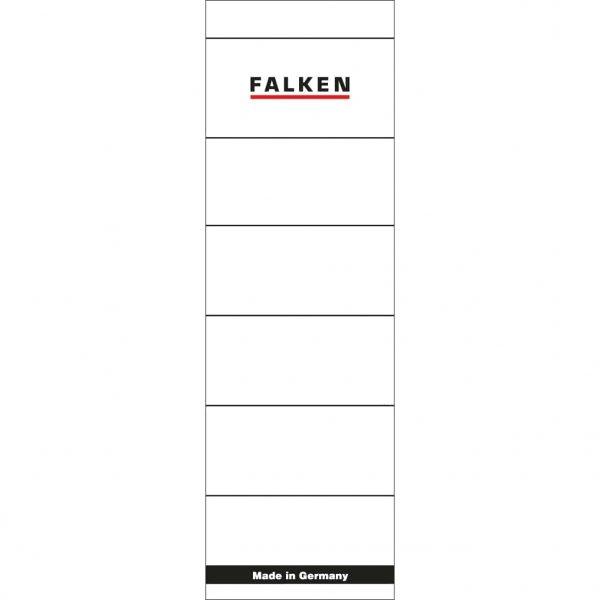 Etichete Falken autoadezive, pentru bibliorafturi, 60 x 190 mm, alb
