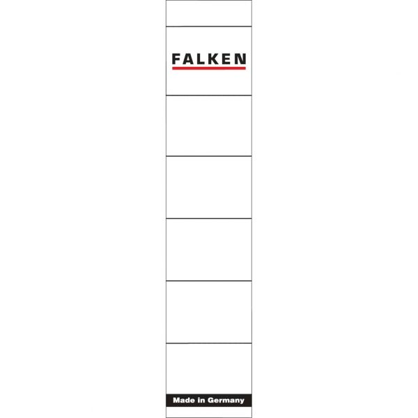 Etichete biblioraft Falken, alb, autoadezive, 36x190mm, hartie, 10buc/set