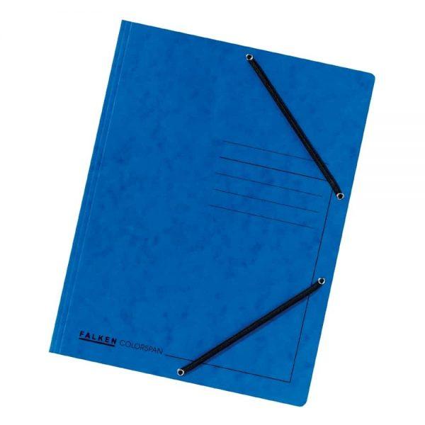 Dosar plic Falken, A4, carton Colorspan, inchidere cu elastic pe colturi, albastru