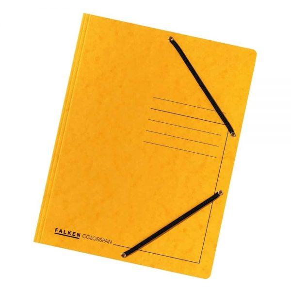Dosar plic Falken, A4, carton Colorspan, inchidere cu elastic pe colturi, galben