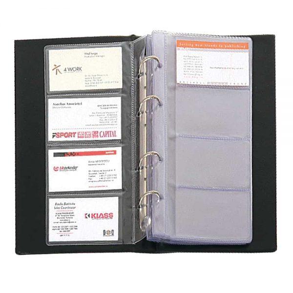 Clasor pentru carti de vizita Flaro, negru, 4 inele, 150x250mm, coperti PVC