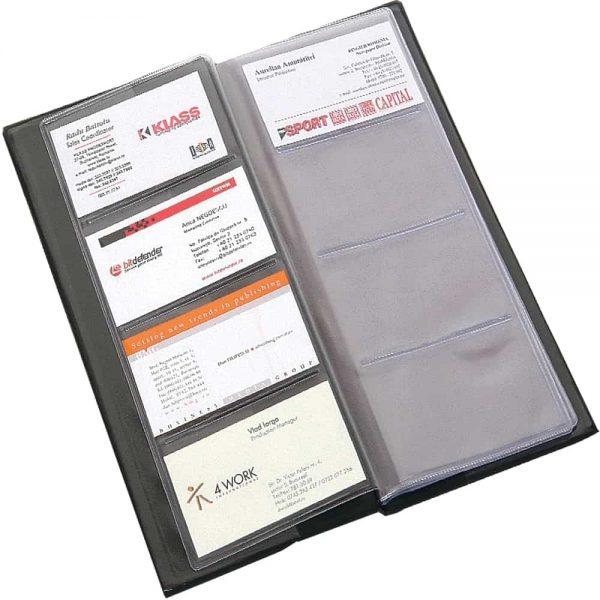 Clasor pentru carti de vizita Flaro, negru, 80 pozitii, 120x250mm, coperti PVC