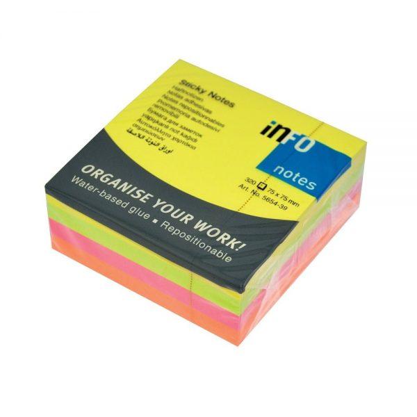 Notes adeziv 75x75 mm 4 culori neon, 320 file Info Notes