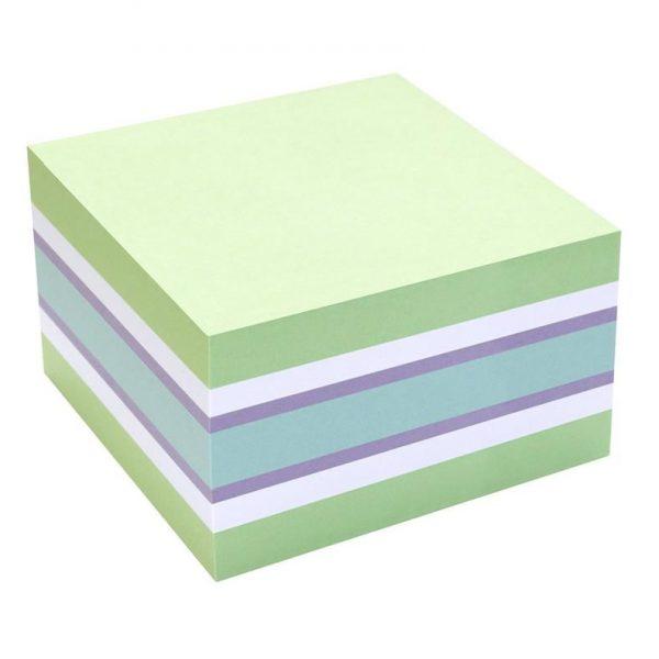 Notes Adeziv 75x75mm Verde Pal-Alb-Violet- Albastru 450 File Info Notes