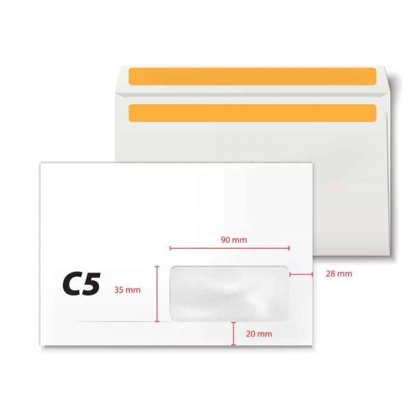 Plic C5 offset alb, auto, fereastra dreapta, 35 x 90, 500 buc/cutie, deschidere latura lunga