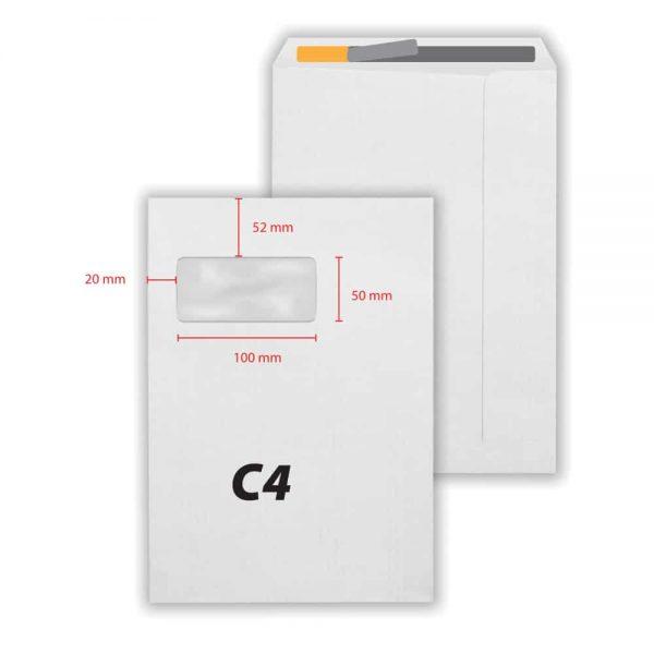 Plic C4 alb siliconic, 229 x 324 mm, fereastra stanga 50 x 100 mm, 80 g/mp, 250 bucati/cutie