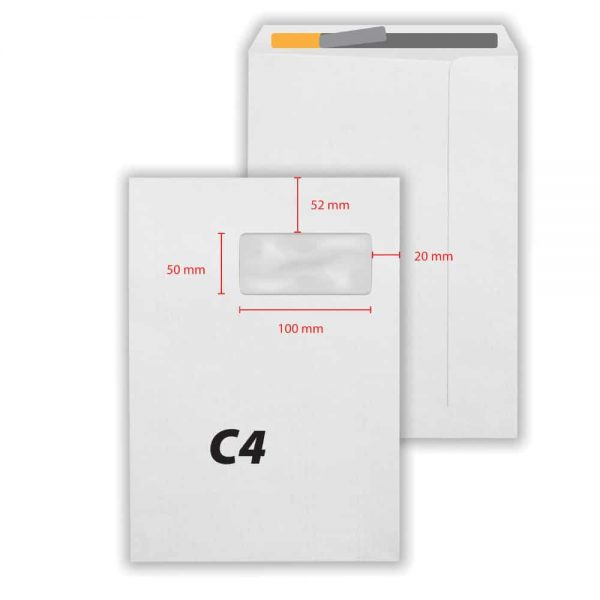 Plic C4 alb siliconic,229 x 324 mm, fereastra dreapta, 50 x 100, 250 buc/cutie