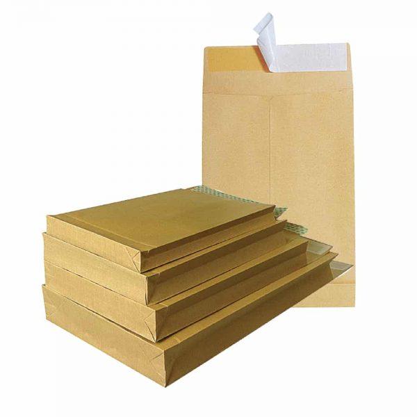 Plic cu burduf B4, 250 x 353 x 40, kraft, siliconic, 130g, 250 buc/cutie
