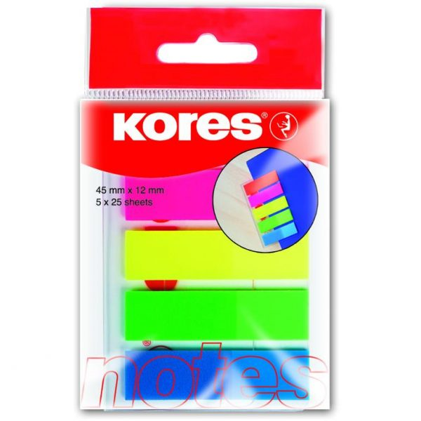Index autoadeziv plastic Kores, 12 x 45 mm, 5 culori x 25 file/culoare