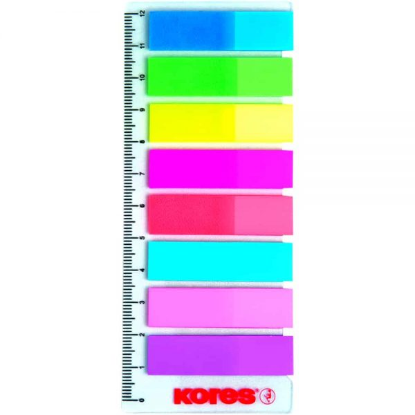 Index autoadeziv plastic Kores, 12 x 45 mm, 8 culori x 25 file/culoare