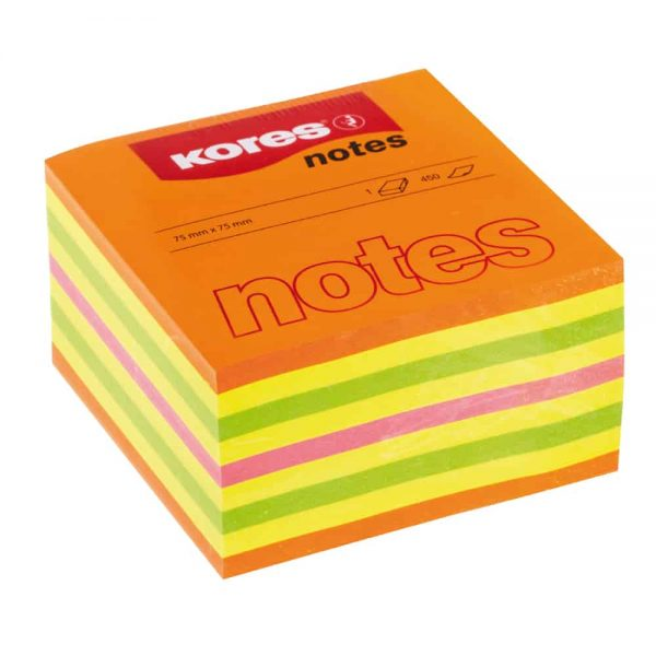 Cub notes adeziv Kores, 75 x 75 mm, multicolor, 450 file