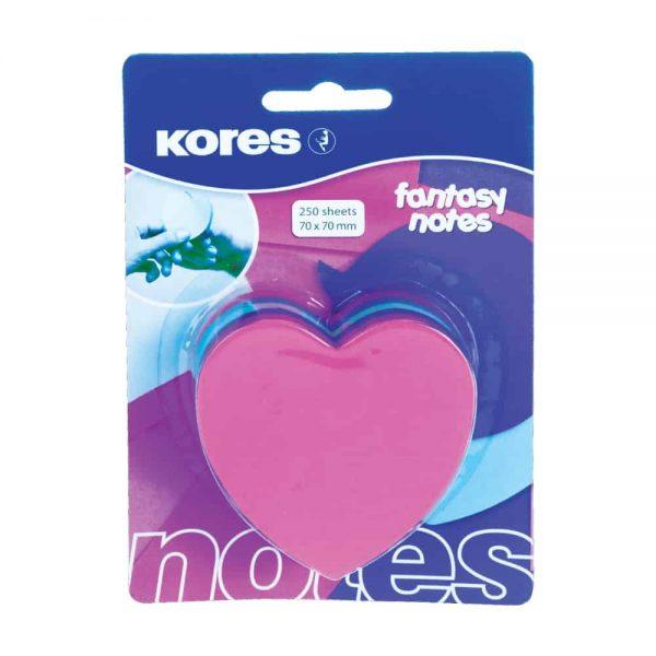 "Notite adezive Kores ""Inima"", diverse culori, 250 file"