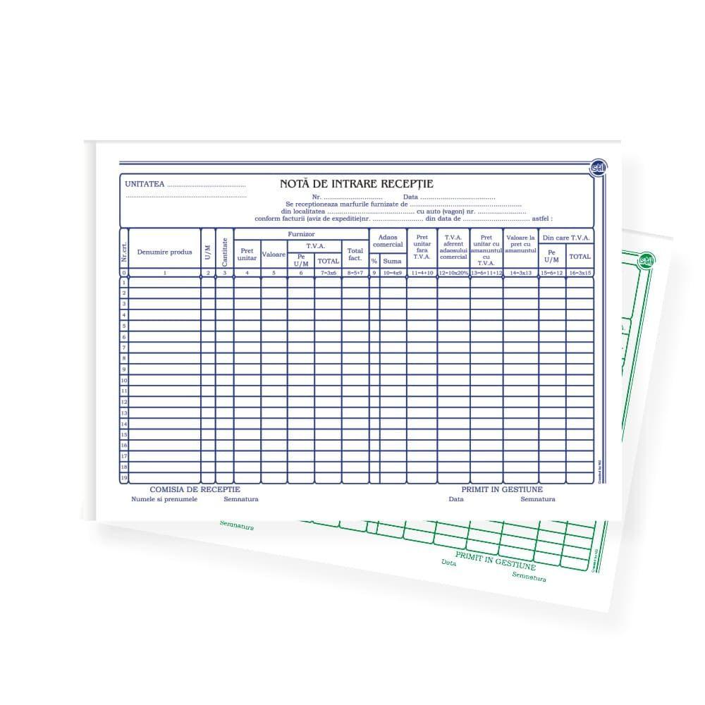Nota de intrare receptie autocopiativ cu TVA, A4, 50 file, 2 exemplare