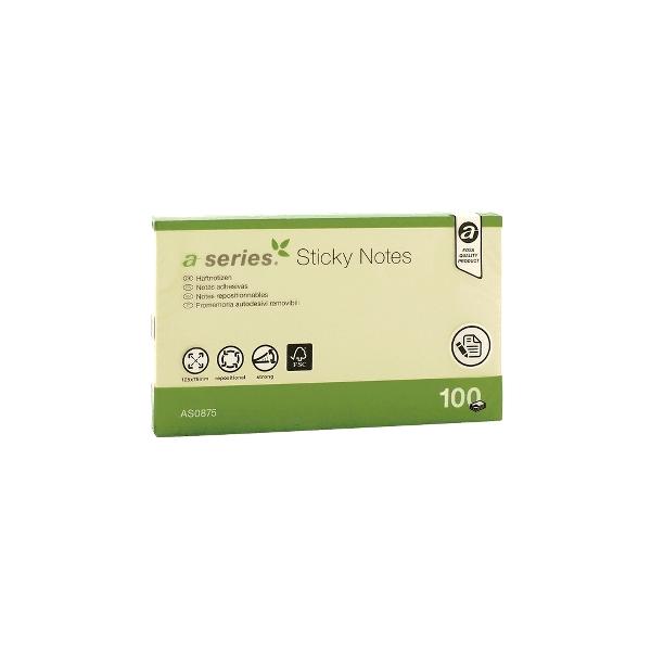 Notite adezive A-Series, 125 x 75 mm, 100 file, galben
