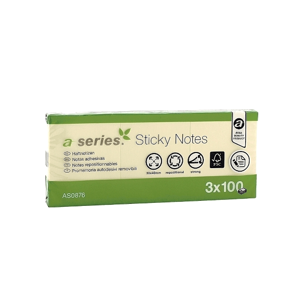 Notite adezive A-Series, 50 x 40 mm, 100 file, galben, 3 buc/set