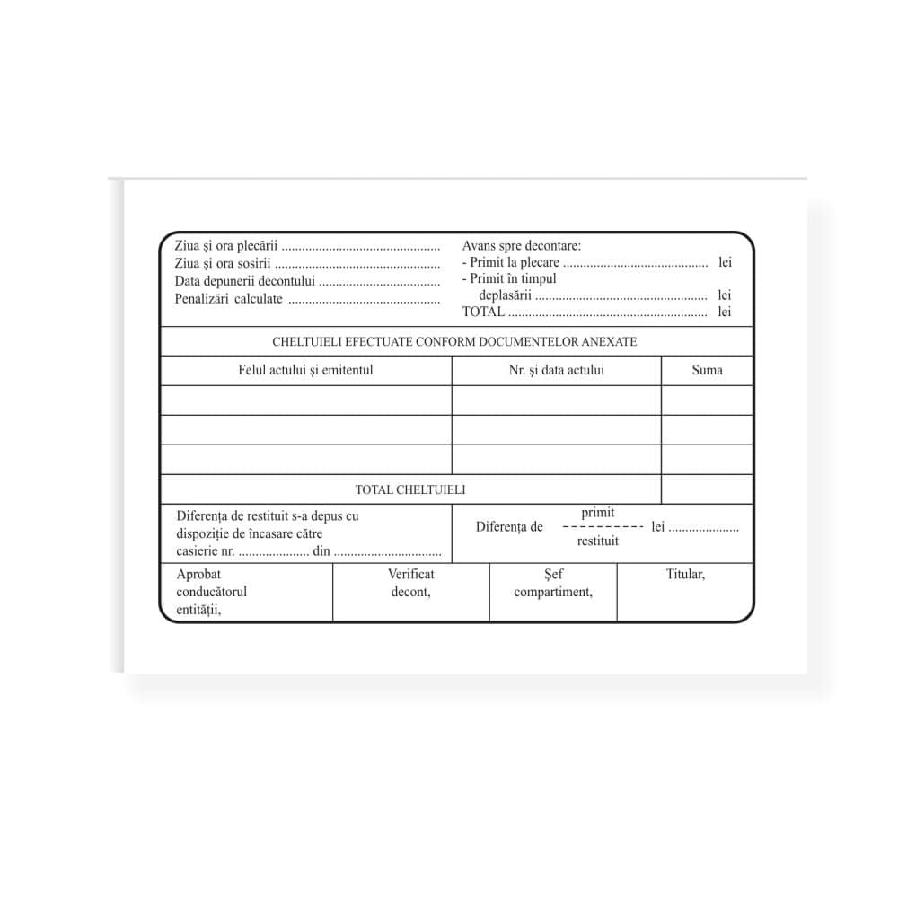 Ordin de deplasare (delegatie), tipar fata/verso, 100 file/carnet