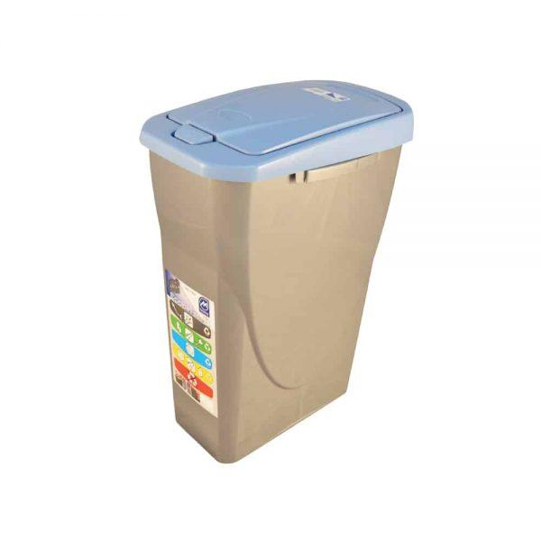 Cos Ecobin pentru colectare selectiva a deseurilor, 25 l, albastru