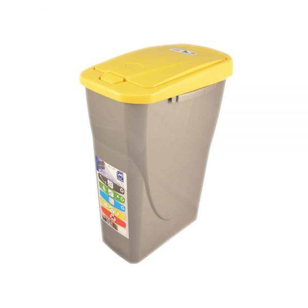 Cos Ecobin pentru colectare selectiva a deseurilor, 25 l, galben