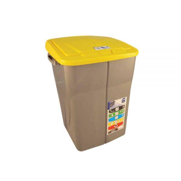 Cos Ecobin pentru colectare selectiva a deseurilor, 45 l, galben