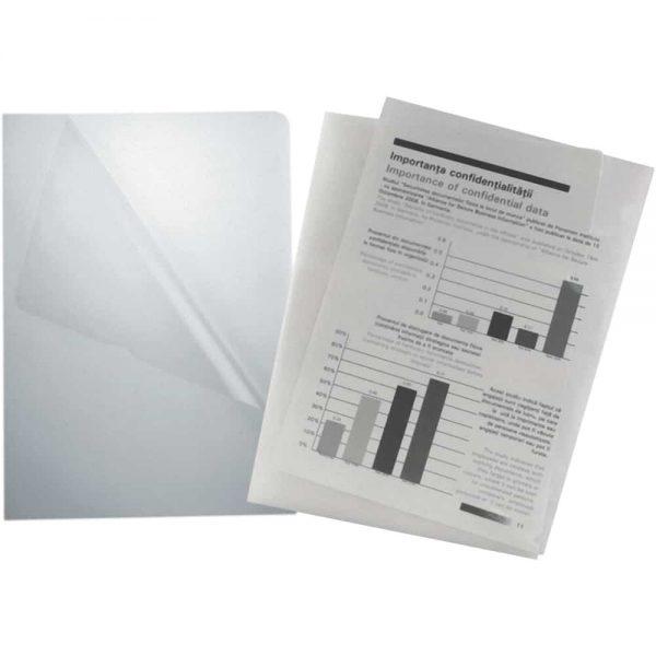 Mapa documente, transparent, oranje peel, A4, plastic, 100buc/set