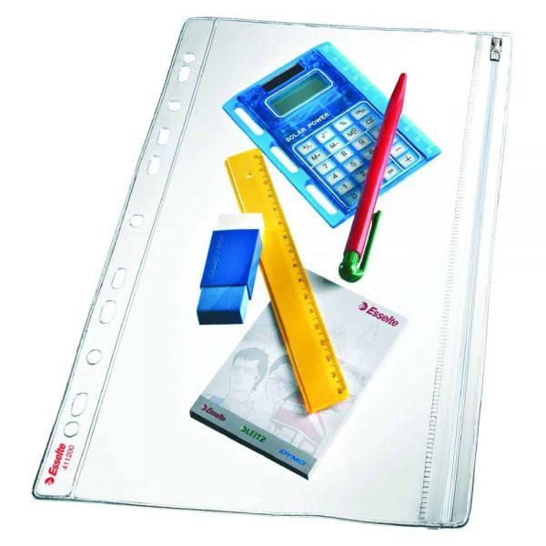File protectie cu fermoar A4  grosime 200 microni, 5 bucati/set