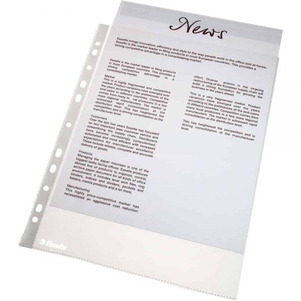 File de protectie Esselte Standard, transparent, orange peel, A4, plastic, 25buc/set