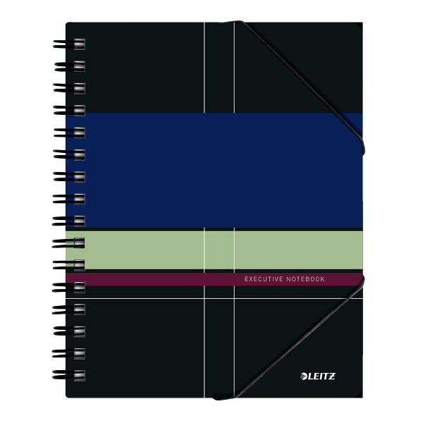 Caiet de birou cu spira Leitz Executive Be Mobile, PP A5, matematica, negru/violet