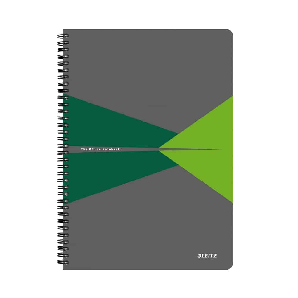 Caiet de birou Leitz Office, carton, A5, cu spira, matematica, verde