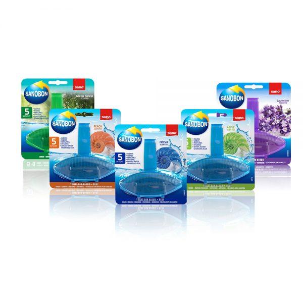 Odorizant solid toaleta Sano Bon 5 in 1, diverse parfumuri