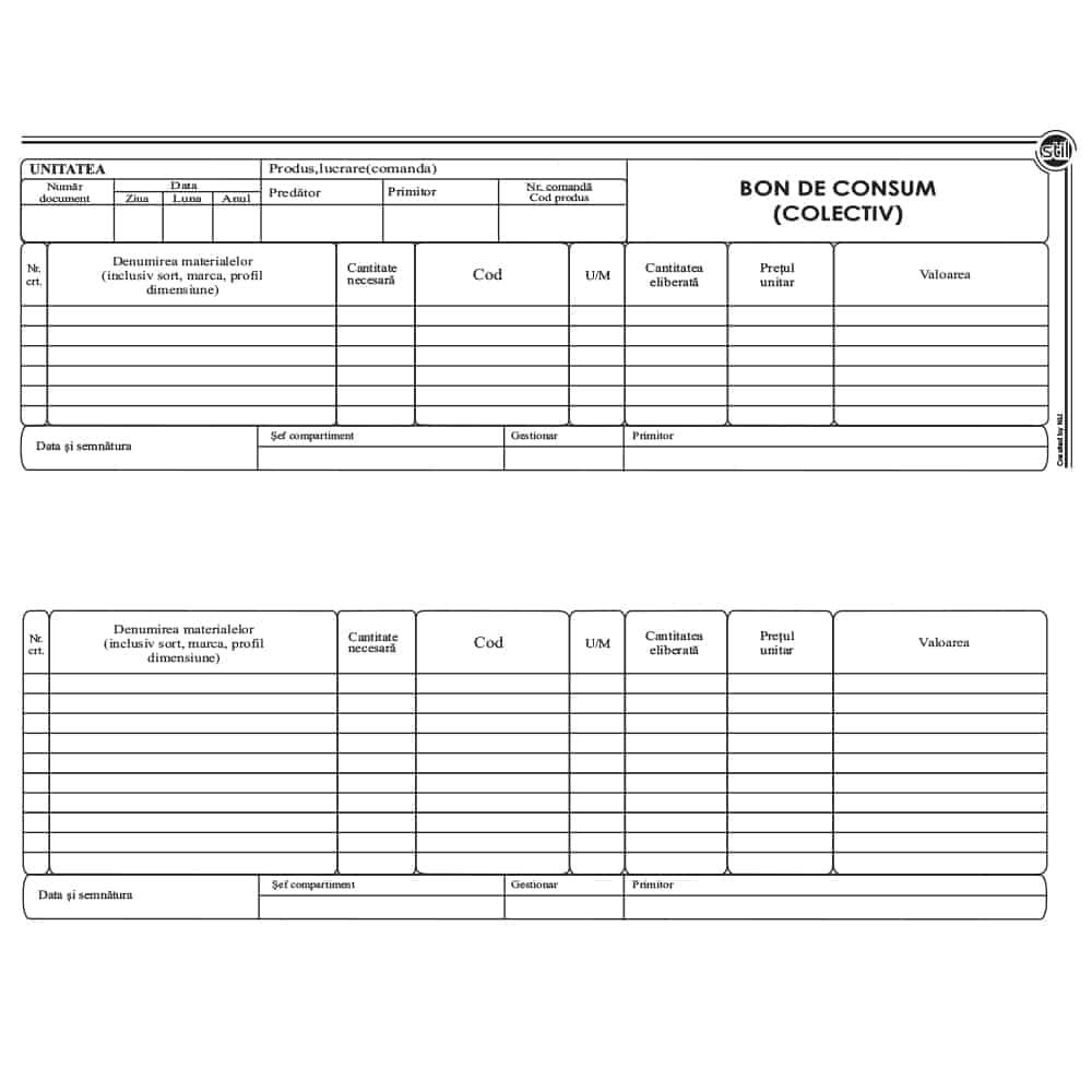 Bon consum colectiv, 1/2 A4, tipar fata-verso, 100 file/carnet