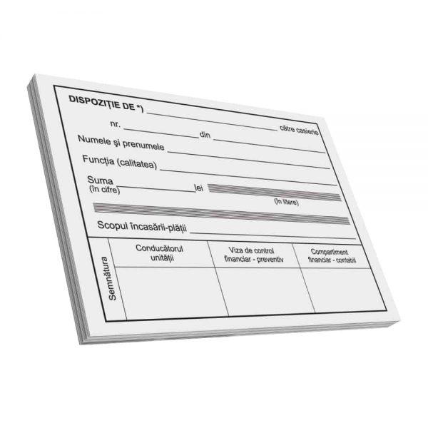 Dispozitie plata catre casierie, A6, 100 file, fata-verso, 3 bucati/set