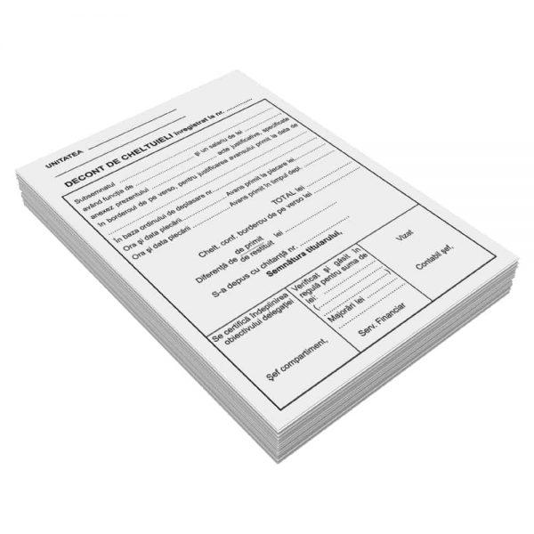 Decont cheltuieli deplasare, A5, 50 file, fata-verso, 3 bucati/set