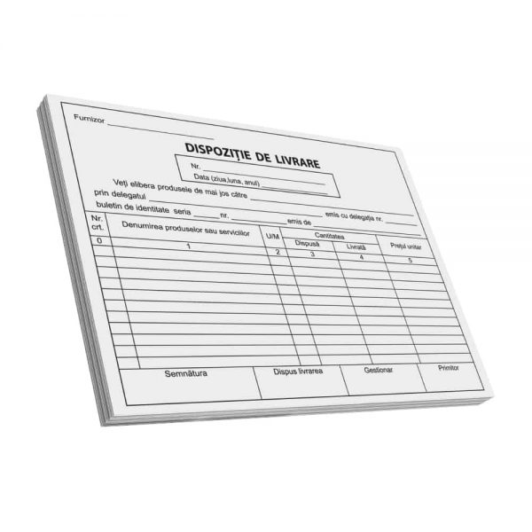 Dispozitie de livrare A5, C100, FV 3 buc/set