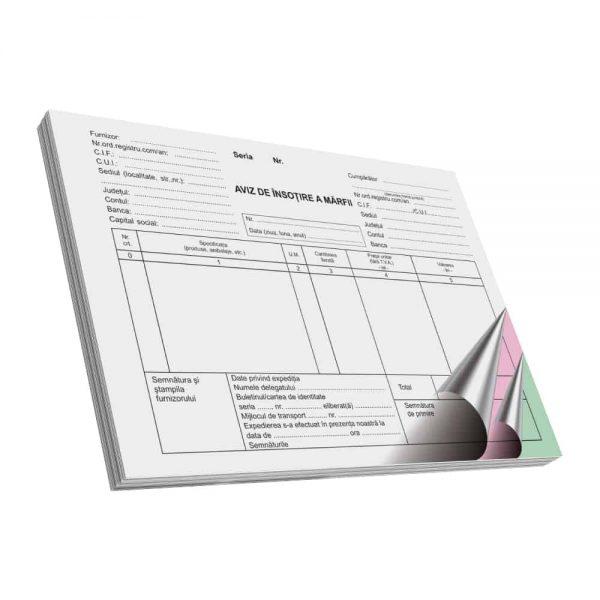 Aviz de insotire a marfii, autocopiativ, A5, 100 file, 3 exemplare, 3 bucati/set