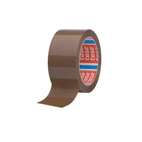 Banda adeziva de ambalare Tesa, maro, 48mm x 66m, adeziv din cauciuc sintetic, hot melt