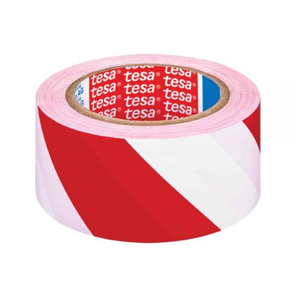 Banda adeziva de marcare Tesa alb/rosu, 50 mm x 33 m