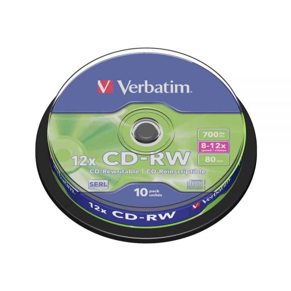 CD-RW Verbatim 12x, 700 MB, 10 bucati/spindle