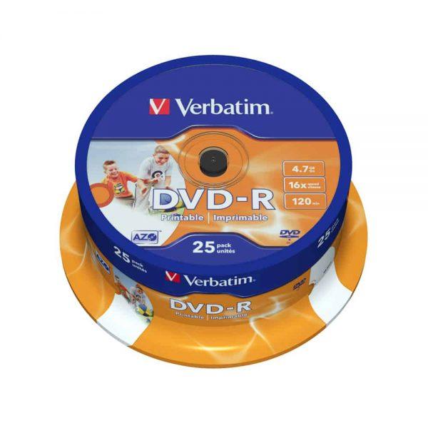 DVD-R printabil Verbatim 16x, 4.7GB, 120 min, 25 buc/set