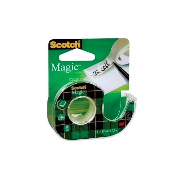 Banda adeziva invizibila Scotch Magic, 19 mm x 7.5 m, cu dispenser