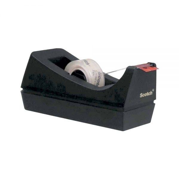 Dispenser banda adeziva, Scotch, Clasic C38, negru