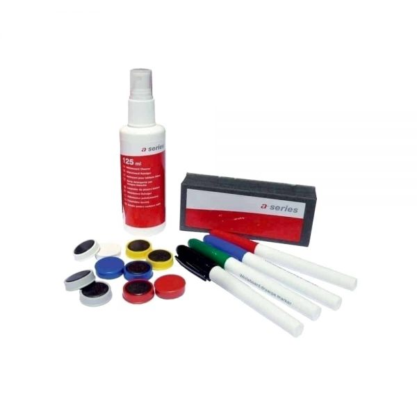 Set A-series pentru whiteboard, format din burete, solutie tabla 125ml, 4 markere tabla, 5 magneti colorati